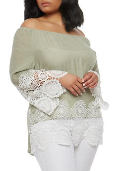 Plus Size Crochet Trim Off the Shoulder Top - 1803056122514