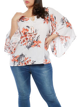 Plus Size Asymmetrical Sleeve Floral Top - 1803056122570