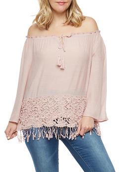 Plus Size Crochet Fringe Trim Off the Shoulder Top - 1803056122581
