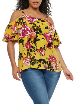 Plus Size Floral Print Cold Shoulder Top - 1803056122582