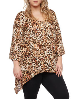 Plus Size Leopard Print Top with Removable Necklace - 1803056122643
