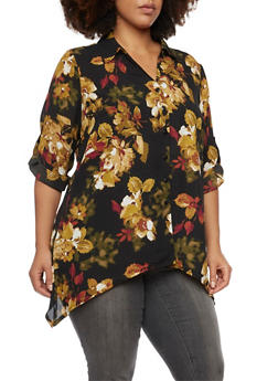 Plus Size Button Up Top with Floral Print - 1803056122645