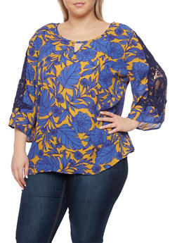 Plus Size Floral Print Top with Crochet Sleeves - 1803056122651