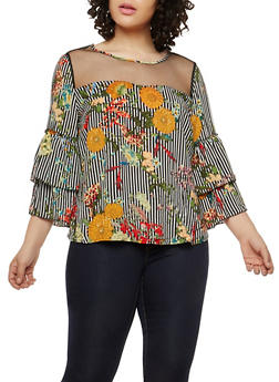 Plus Size Floral Stripe Tiered Sleeve Top - 1803056122652