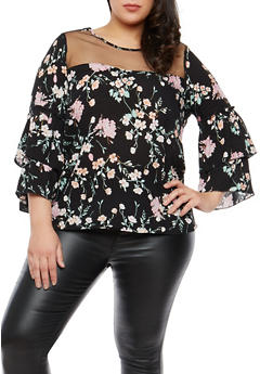Plus Size Mesh Tier Sleeve Floral Top - 1803056122655