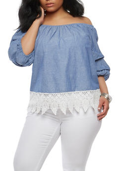 Plus Size Chambray Off the Shoulder Top - 1803056122657