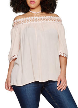 Plus Size Off the Shoulder Peasant Top with Crochet Trim - 1803056122670