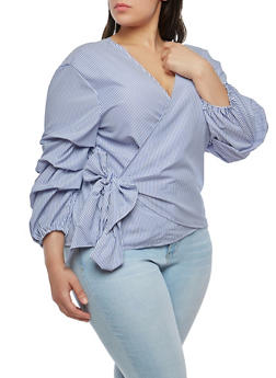 Plus Size Striped Wrap Top - 1803056122675