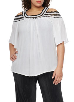 Plus Size Cold Shoulder Peasant Top with Crochet Neckline - 1803056122701