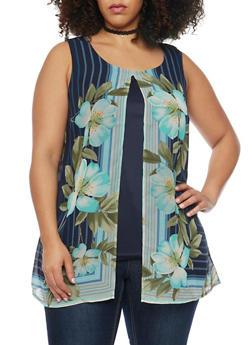 Plus Size Split Front Floral Print Top - 1803056122725
