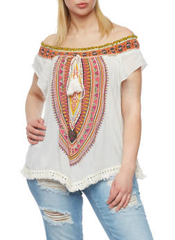 Plus Size Off the Shoulder Dashiki Print Top with Fringe - 1803056122740