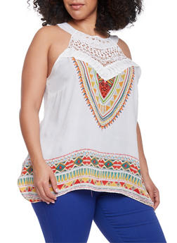 Plus Size Sleeveless Aztec Top with Crochet Trim - 1803056122741