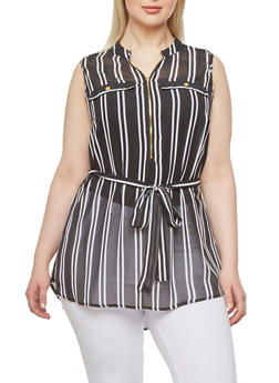 Plus Size Striped Sleeveless Top with Zip Front and Belt - 1803056122743