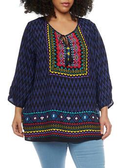 Plus Size Dashiki Print 3/4 Sleeve Top - 1803056122745