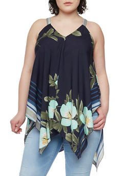 Plus Size Sleeveless Floral Sharkbite Top - 1803056122746