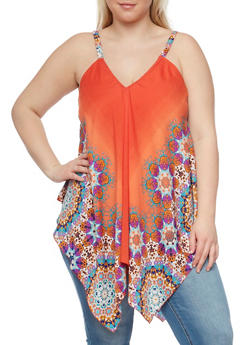Plus Size Abstract Printed Sleeveless Asymmetrical Swing Top - 1803056122748