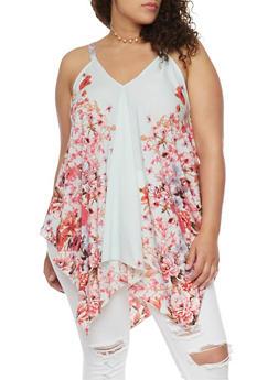 Plus Size Sleeveless Asymmetrical Floral Swing Top - 1803056122749