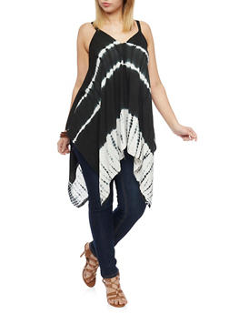 Plus Size Sleeveless Sharkbite Tie Dye Top - BLACK - 1803056122751