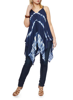 Plus Size Sleeveless Sharkbite Tie Dye Top - 1803056122751