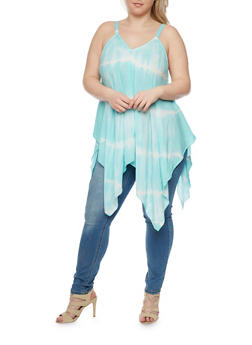 Plus Size Sleeveless Tie Dye Sharkbite Top - 1803056122752