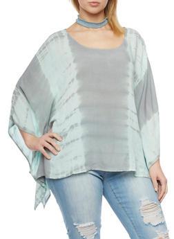 Plus Size Tye Dye Top with Sharkbite Hem - 1803056122753