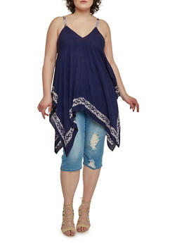 Plus Size Sleeveless Asymmetrical Top with Printed Trim - 1803056122755