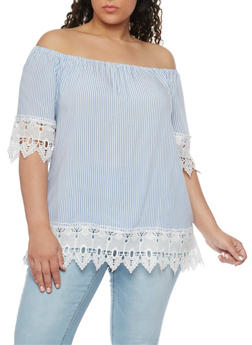 Plus Size Pinstriped Off the Shoulder Top with Crochet Trim - 1803056122791