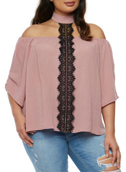 Plus Size Off the Shoulder Top with Lace Trimmed Choker Tie - 1803056122814