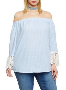 Plus Size Striped Off The Shoulder Top with Frayed Denim Choker - 1803056122823