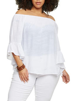 Plus Size Off the Shoulder Top with Bell Sleeve - WHITE - 1803056122824