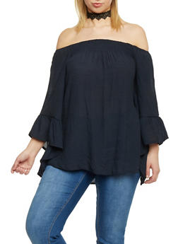 Plus Size Off the Shoulder Top with Bell Sleeve - 1803056122824