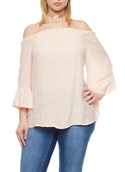 Plus Size Off the Shoulder Top with Bell Sleeve - BLUSH - 1803056122824