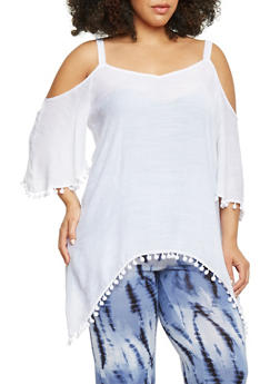 Gauze Cold Shoulder Top with Pom Pom Trim Sleeves - 1803056122825