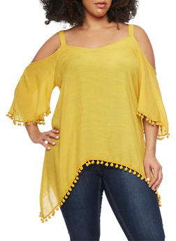 Gauze Cold Shoulder Top with Pom Pom Trim Sleeves - MUSTARD - 1803056122825