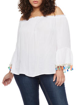 Plus Size Off the Shoulder Top with Tassel Trimmed Bell Sleeves - 1803056122826