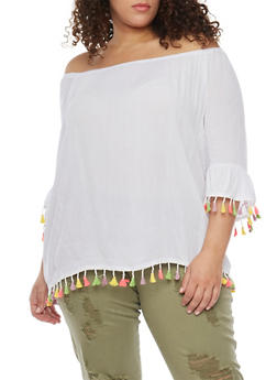 Plus Size Off The Shoulder Top with Neon Fringe Trim - WHITE - 1803056122827