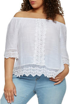 Plus Size Crochet Trimmed Off the Shoulder Peasant Top - WHITE - 1803056122860