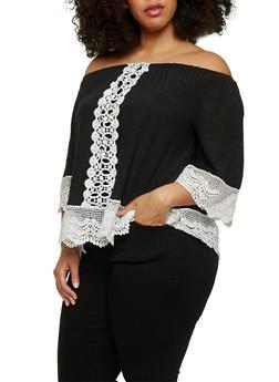 Plus Size Crochet Trimmed Off the Shoulder Peasant Top - BLACK/WHITE - 1803056122860