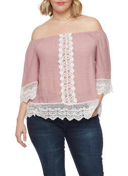 Plus Size Crochet Trimmed Off the Shoulder Peasant Top - 1803056122860