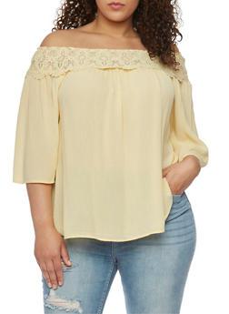 Plus Size Off the Shoulder Peasant Top with Crochet Neckline - 1803056122871