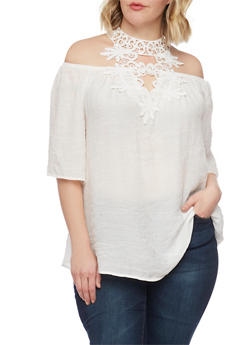 Plus Size Gauzy Off the Shoulder Crochet Halter Top - IVORY - 1803056122872