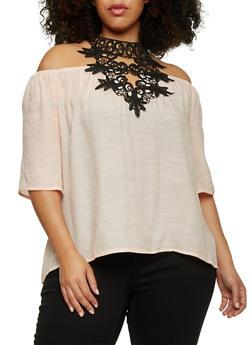 Plus Size Gauzy Off the Shoulder Crochet Halter Top - BLUSH - 1803056122872