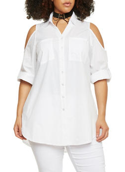 Plus Size Cold Shoulder Button Down Roll Sleeve Blouse - 1803056123708