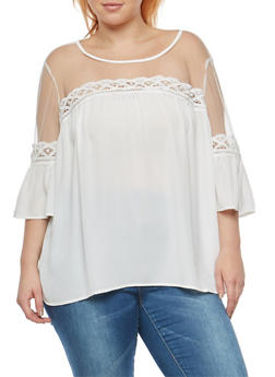 Plus Size Babydoll Top with Mesh Detail - 1803056124248