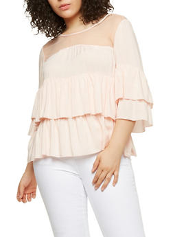 Plus Size Mesh Yoke Tiered Top - 1803056124257