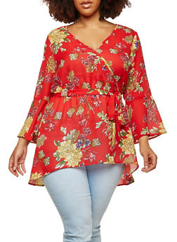 Plus Size Sheer Floral Faux Wrap High Low Top - 1803056124272