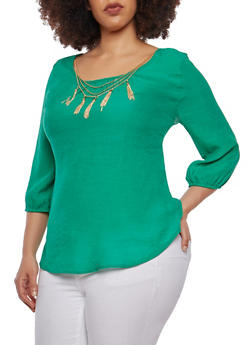 Plus Size Gauze Knit Top with Necklace - 1803056125265