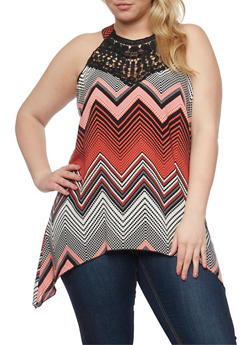 Plus Size Sleeveless Zig Zag Sharkbite Top with Crochet Accent - 1803056125270