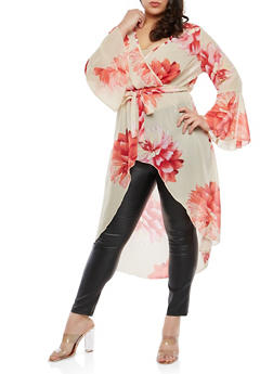 Plus Size Floral Chiffon Belted High Low Top - 1803056125597