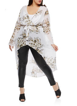 Plus Size Sheer Floral Faux Wrap Maxi Top - 1803056125598